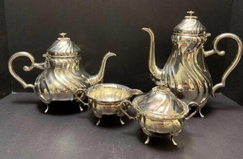 Denmark SilverPlate 4pc COFFEE TEA SET Swirl Embossing Shell Knees Flower Finial