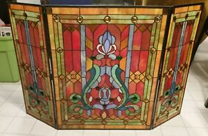 Fireplace Screen Tiffany Style Stained Glass Folding 3-Panel Cover