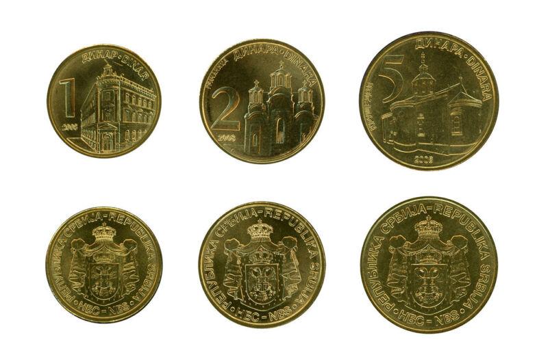 SERBIA UNCIRCULATED COIN TRIO, 1, 2, 5 DINARA