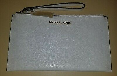 Michael Kors Vanilla Jet Set Item Large Zip Leather Clutch Wristlet NWT $98