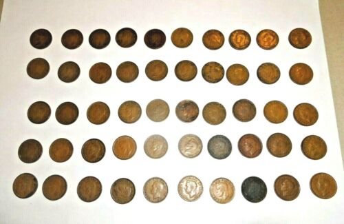 1 Roll of Mixed George VI Canada cents 1937-1952 (50 mixed coins)