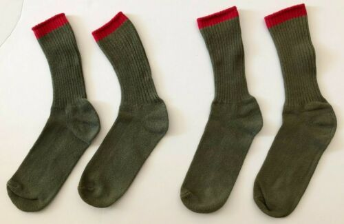 Two Pairs BSA BOY SCOUT SOCKS Olive Army Green Red OFFICIAL UNIFORM