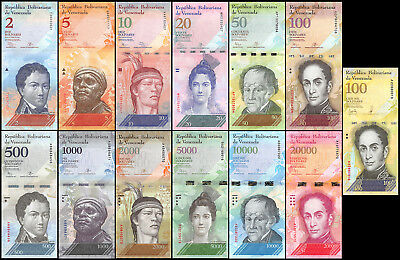 Venezuela 2-100,000 Bolivares  13 Pieces - PCS, Full Set, 2013-2017, P-NEW, UNC
