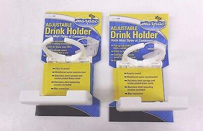 - SET OF 2 WHITE ADJUSTABLE FOLDING CUP DRINK HOLDER FOR BOAT CAR RV W/HARDWARE