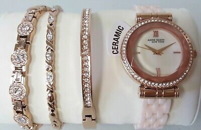 Anne Klein 12/2316BHST Women's 33mm Ceramic Bracelet Watch + Bracelet Set *NWT*