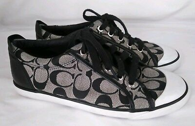 Coach Women's Barrett Gray Black Logo Low Top Sneakers Tennis Shoes Size 8 B