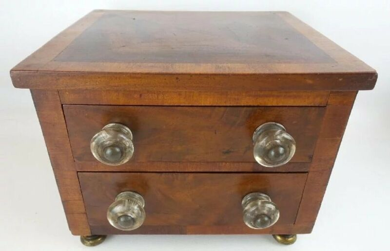 Antique Mahogany Miniature Doll 2 Drawer Footed Chest