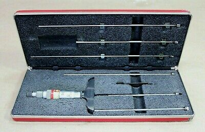 Starrett Depth Micrometer No. 440 Set With Case Wrench 6 Rods - Free Shipping