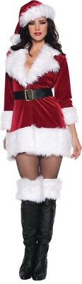 Womens Santa Jacket (WOMENS SEXY SECRET SANTA MINI PLUSH JACKET DRESS 4 PC CHRISTMAS COSTUME)