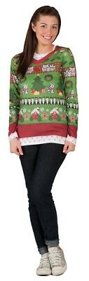 Ladies Ugly Christmas Sweater Adult Womens Costume Thanksgiving Party Halloween