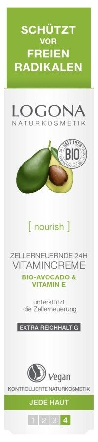 Logona zellerneuernde 24h Vitamincreme Bio-Avocado & Vitamin E 30ml, vegan
