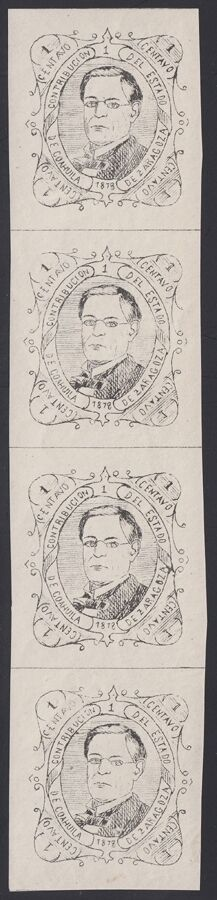 MEXICO, 1878. Revenue Coahuila Contribucion CO5 Strip, Mint