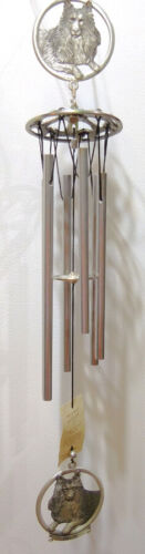 SHELTIE PEWTER WIND CHIMES, HERITAGE PEWTER ITEM WC4133