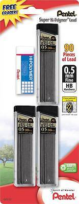 Pentel Super Hi-polymer Lead Refill - 0.5mm Hb - 90pc With Free Eraser C25bphb3