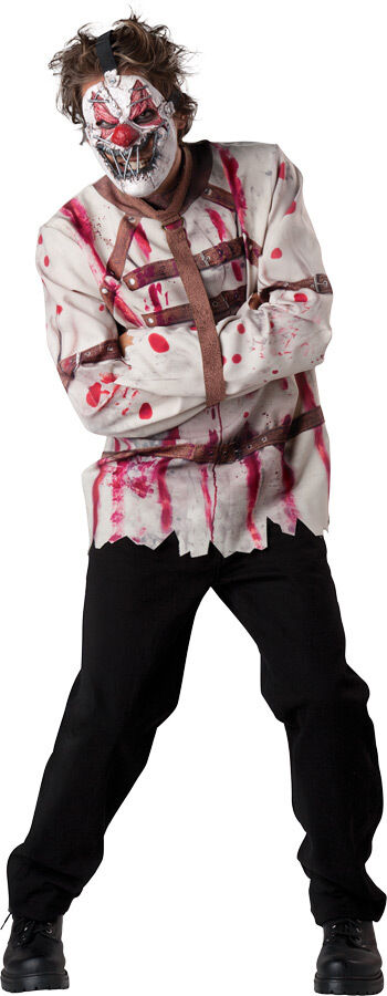 Mens Psycho Circus Clown Straight Jacket Halloween Fancy Dress Costume Outfit