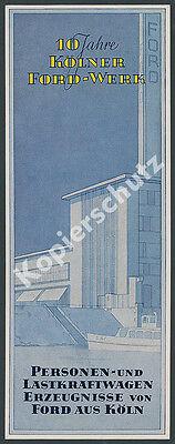 orig. Farb-Reklame 10 Jahre Ford-Werk Köln Ruhrgebiet Auto Design Art Deco 1941