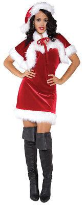 Frohe Holiday Erwachsene Damen Kostüm Miss Santa Weihnachten Rotes Kleid
