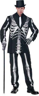 Classy Mens Halloween Costumes (Bone Daddy Skeleton Adult Mens Costume Classy Black Suit Jacket)
