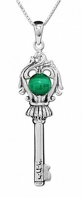 The Key of Soul for Protection Pendant Amulet Malachite Stone Silver 925