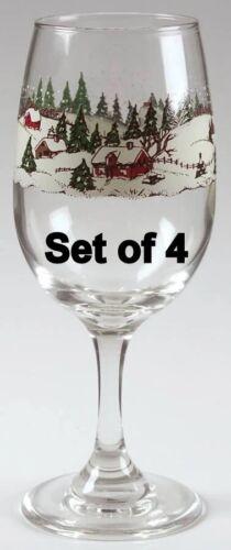 Set of4 Libbey Christmas Winter snow scene Stemmed Glasses Goblet Arby