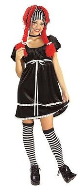 Gothic Raggedy Ann Halloween Costumes (Rag Doll Black White Raggedy Ann Gothic Dress Up Halloween Teen Tween)