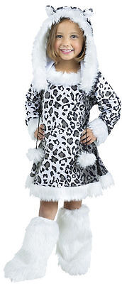 FUZZY SNOW LEOPARD GIRLS HALLOWEEN COSTUME TODDLER SIZE LARGE 3T-4T ()