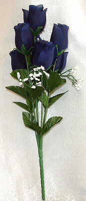 6 Navy Blue Roses Buds ~ Silk Wedding Flowers Bridal Bouquets Centerpieces Craft