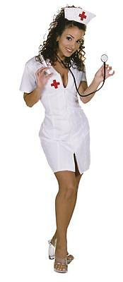 WOMENS SEXY HOT FLASH NURSE LOW CUT NECKLINE DRESS & HAT COSTUME (Hot Flash Kostüm)