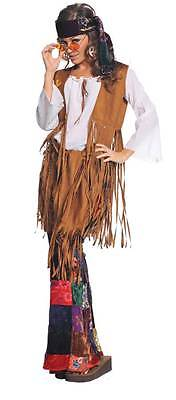 WOMENS HIPPIE PEACE OUT FRINGED VEST BELL BOTTOMS HEADBAND COSTUME - Peace Out Hippie Kostüm
