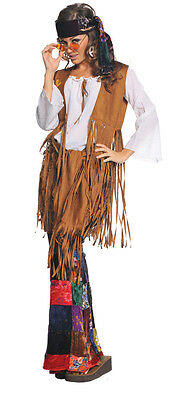 Peace Out Womens Costume Adult 60s 70s Hippie Fringe Suede - Peace Out Hippie Kostüm