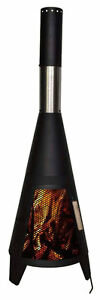 Garden Chimenea Steel Chimnea Chiminea Patio Heater BBQ Chimney Fire Pit Black