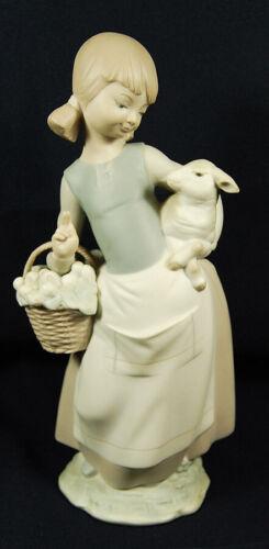 Lladro Girl with Lamb & Basket flowers matte porcelain sheep Spain 4835