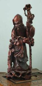 OLD HAND CARVED WOODEN STATUE OF SHOU, CHINESE GOD OF YOUTH. 42CM