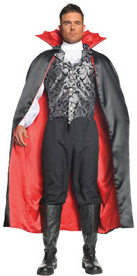 Vampire Adult Men's Costume Silver Satin Look Vest Halloween Underwraps - Vampire Look Halloween