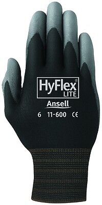 6 Pair Ansell HyFlex Lite Gloves Black/Gray Size 6 11-600-6