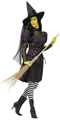 Ms. Böse Hexe Teen Erwachsene Damen Kostüm Schwarzes Kleid Thema Party Halloween