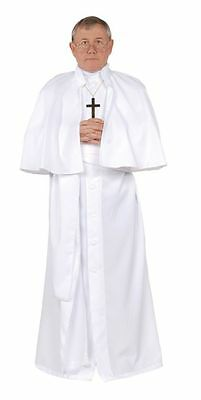 WHITE POPE ADULT COSTUME CARDINAL CATHOLIC PRIEST FATHER MENS ROBE 28161 - Catholic Priest Costume