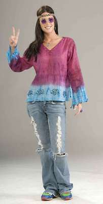Hippie Shirt Ladies Pink & Blue Tie Dye Cotton Bell Sleeve Shirt With Beading OS