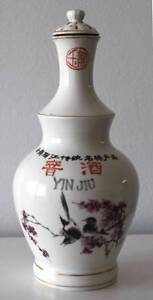 OLD PORCELAIN CHINESE LIQUOR BOTTLE WITH BIRD PAINTING. East Perth Perth City Area Preview