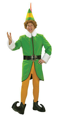 Buddy the Elf Deluxe Adult Mens Costume Christmas Green Halloween Will Ferrel](Will Ferrell Costumes Halloween)