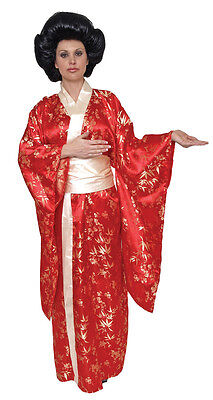 Kim Kimono Geisha Adult Womens Costume Red Japanese Asian Robe Party Halloween