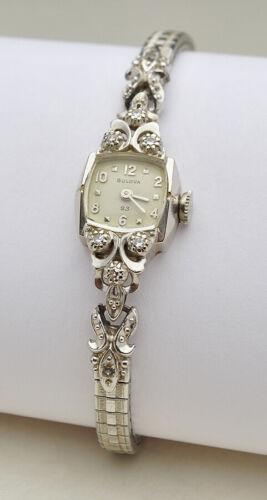 Vintage 14k White Gold ladies Diamond Bulova 23 jewel watch