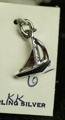 Vintage 925 Sterling Silver Sailing Boat Rig Sail Ocean Nautical 3D Charm
