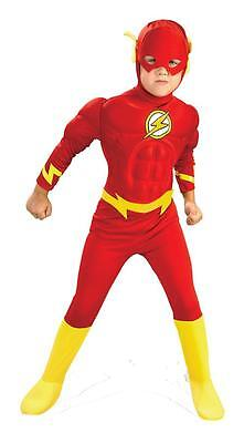 BOYS DC COMICS FLASH DELUXE MUSCLE SUPER HERO COSTUME RU82308