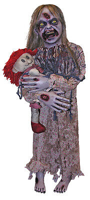 Halloween LITTLE SCARY ZOMBIE GIRL WITH HER DOLLY Prop Haunted House NEW](Scary Zombie Girl)