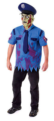 Halloween Mens Zombie New York Cop Costume Police Fancy Dress Outfit & Mask New - Halloween Costumes Ny