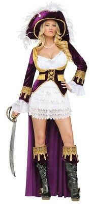 Caribbean Queen Velvet Pirate Adult Womens Costume Ship Theme Party Halloween