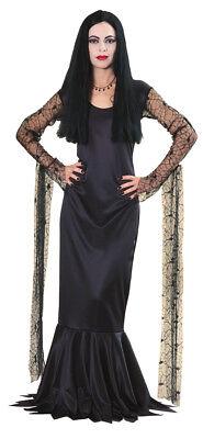 Morticia Addams Erwachsene Damen Kostüm Addams Family Schwarzes Kleid Halloween