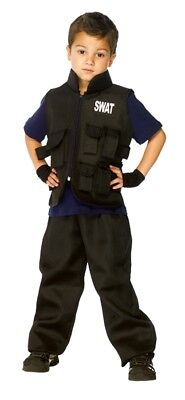 SWAT Team Child Costume Boys Police Officer Black Vest Halloween](Swat Team Vest Halloween)