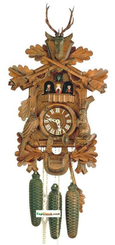 DOLD 8MT89 Large Live Animal Hunter 8 Day Cuckoo Clock